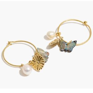 🆕 Madewell Garden Charms Pearl Hoop Earrings NWT